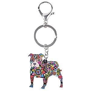 Bonsny Acrylic Pit Bull Dog Key Chains Keyrings for Women Gifts Teens Kids Car Purse Handbag Charm Jewelry (Multicoloured)