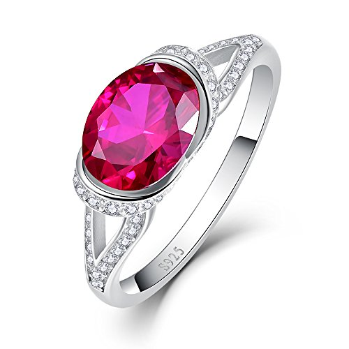 BONLAVIE 2 Ct Created Ruby Engagement Ring in Rhodium-Plated Sterling Silver Size 8 2 Ct Ruby Ring