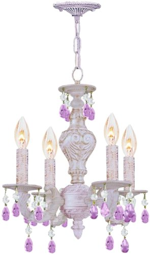 Crystorama 5024-AW-RO-MWP Crystal Accents Four Light Mini Chandeliers from Sutton collection in Whitefinish,