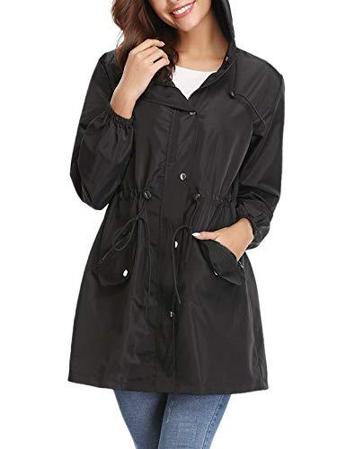 Aibrou Women Lightweight Raincoats Waterproof Active Outdoor Packable Hooded Trench Coats Black