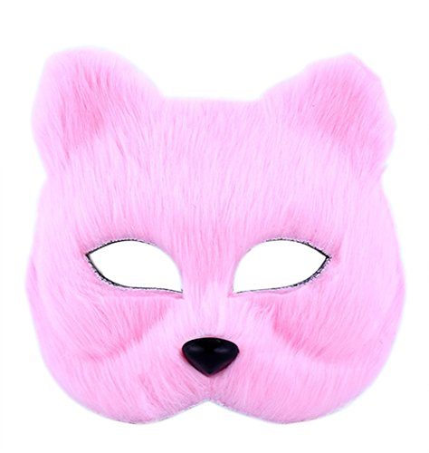 Lovely Pink Fox Plush Masks, Best Choice for Masquerade, Halloween, Cosplay, Party - Easy Freak Show Costumes