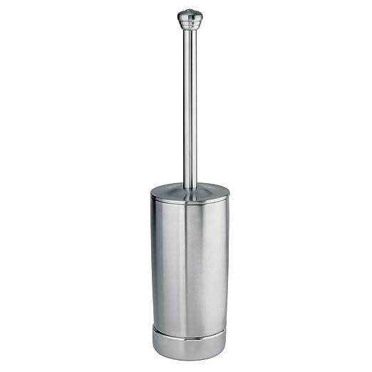 InterDesign York Metal Escobillero de ba/ño Estrecho Soporte para escobilla de ba/ño en Acero Inoxidable Plateado