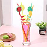 Wffo 4PCS Reusable Party Decoration Colorful Fruit Cartoon Style Straw♚ for Milkshakes Frozen Drinks