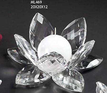 Bomboniere In Vetro Matrimonio.Fiore Ninfea Grande Da 20 Cm In Vetro Tipo Cristallo Portacandela