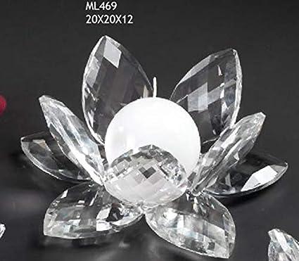 Bomboniere In Cristallo Per Matrimonio.Fiore Ninfea Grande Da 20 Cm In Vetro Tipo Cristallo Portacandela Porta Candela Bomboniera Matrimonio