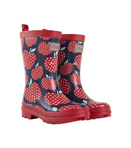 (Hatley Girls' Toddler Printed Rain Boots, Polka Dot Apples, 6 US Child )