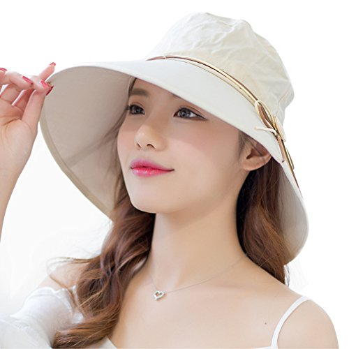 [WITERY Outdoor Large Brim Summer Beach Sun Hats UV Protection Fishing Camping Foldable Ruched Caps for Women] (Costumes Pizza Hat)