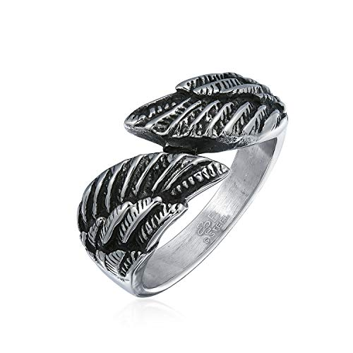 Tone Bypass Silver - Bling Jewelry Religious Angel Wing Feather Bypass Band Ring for Men for Women Oxidized Silver Tone Stainless Steel