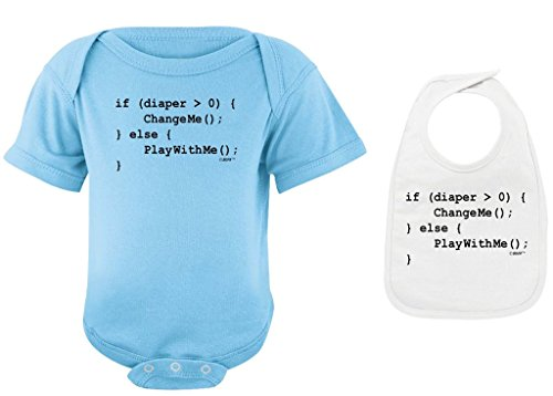 Baby Shower Gifts Coding for Babies Funny Programmer Light Blue Bodysuit and White Bib Bundle 18 Months
