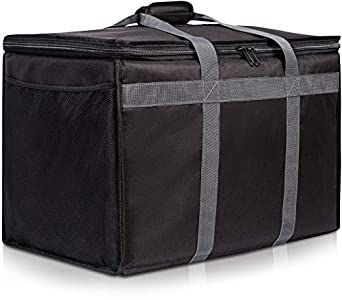 72040ec33080 Insulated Commercial Food Delivery Bag with Side Pockets - Professional  Food Warmer Portable Catering Hot Cold Meals - Thick Insulation Cooler for  ...
