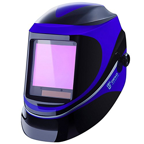 DESOON Solar Power Auto Darkening Welding Helmet with Wide Lens Adjustable Shade Range 4/9-13 for Mig Tig Arc Weld Grinding Welder Mask (BLUE) ...