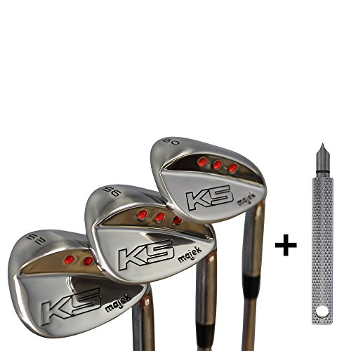 "Majek Golf +4 inch Over Gigantic Big & Tall Senior Men's Wedge Set: 52° Gap (GW), 56° Sand (SW) 60° Lob (LW) (Tall 6'9+/+4"" Over) Premium Men's Arthritic Grip + Free Wedge Groove Sharpener- Silver"