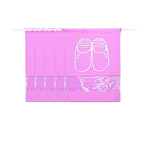 Tota Non-woven Shoe Bags Trip and luggage/seasonal Packing with Transparent Window with Draw String Bag (Large, Pink)