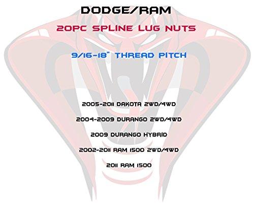 Venum ホイールアクセサリー 20個 ラム1500 レッドスプラインデュプレックスセキュリティラグナット + ロック7スプラインソケットキー2個   2004-2009 Dodge Durango