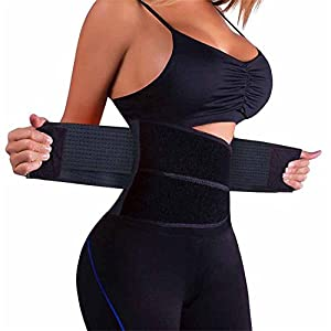 HURMES Waist Trainer Belt for Women-Waist Cincher Trimmer Body Shaper Belt (Black, M)