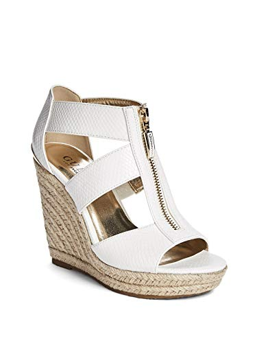 (GUESS Factory Women's Lora Zip-Front Espadrille Wedges White)