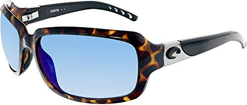 Costa Del Mar Isabela Sunglasses, Retro Tortoise With Black Temples, Blue Mirror 580P - Isabela Sunglasses Costa