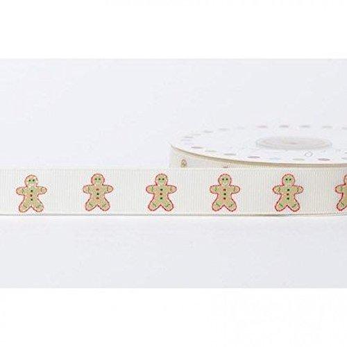 (16mm Reel Chic Gingerbread Man Print Grosgrain Ribbon Antique White - per metre)