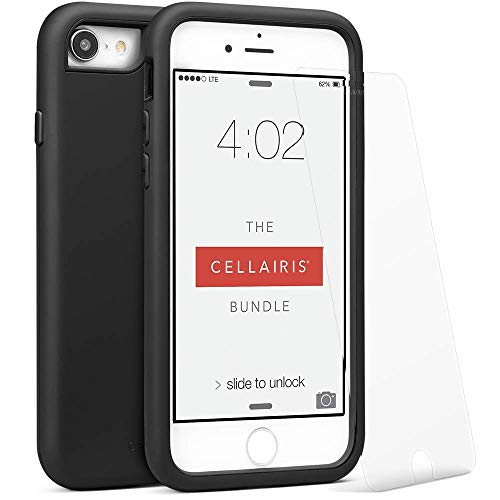 Cellairis - The Cellairis Bundle, Cell Phone Case for Apple iPhone 7 Plus (Black) - Triple Layer Protection - with a Scratch Resistant Tempered Glass Screen Protector from Cellairis