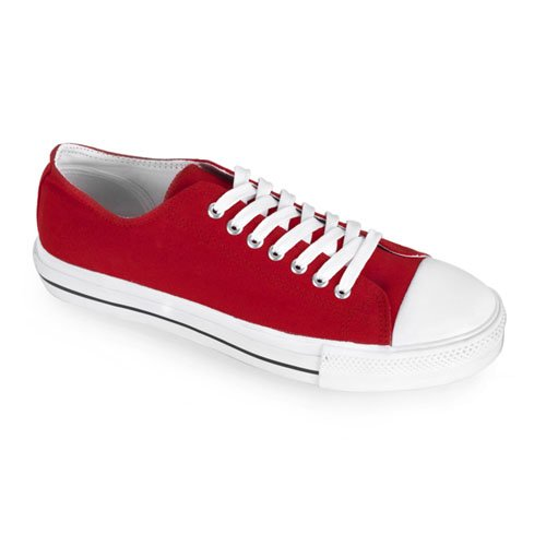 Demonia Mens Deviant 01 Canvas Sneakers, Rood Canvas / Wit, 6 M Us