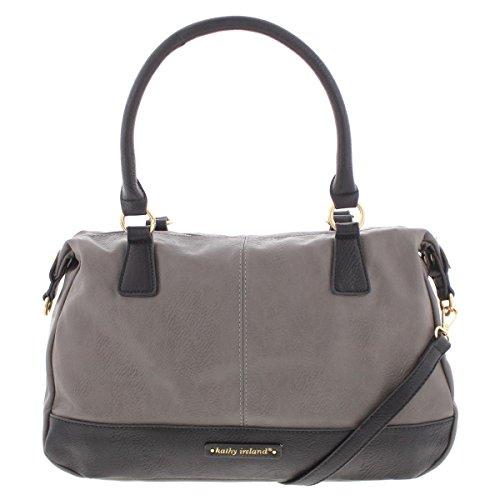 Kathy Ireland Womens Faux Leather Signature Satchel Handbag Gray Medium