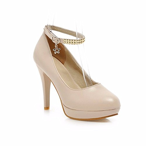 Red waterproof stand, heel heel, single shoe,Beige,35-YU&XIN by YU&XIN-Spring and Autumn Women's Shoes