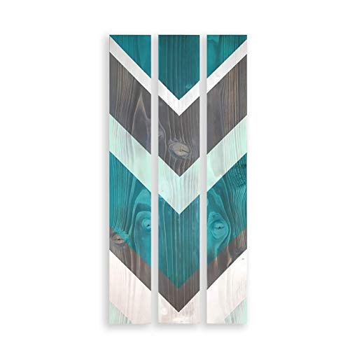 Farmhouse Wood Wall Hanging, Teal, Robins Egg Blue Dark Grey and Silver, Rustic 3 Panel Wall Art, Chevron (Aqua Accent Wall)