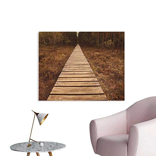 (Anzhutwelve Landscape Mural Decoration Wooden Path Heading to The Forest Walk Way Towards Deep Woodland in Fall Season Poster Paper Brown Green W32 xL24)