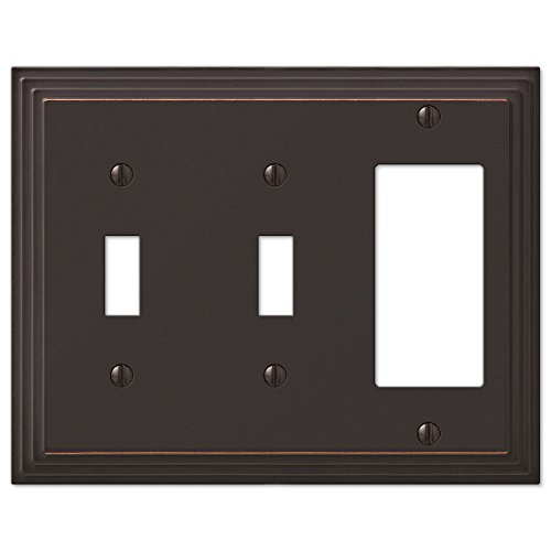 Step Design Double Toggle and GFI Decora Rocker Combination Wall Switch Plate Outlet Cover - Oil Rubbed Bronze (Bronze Double Rocker)