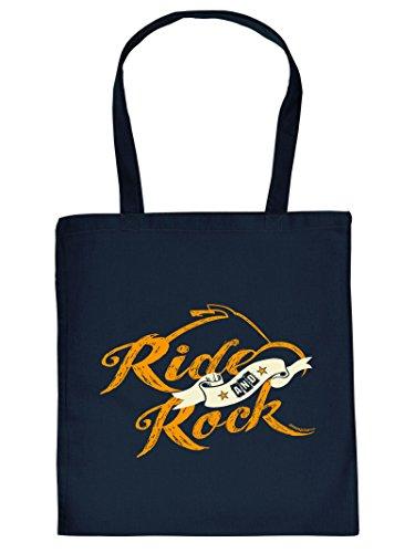 Ride and Rock -Tote Bag Henkeltasche Beutel mit Aufdruck. Tragetasche, Must-have, Stofftasche. Geschenk,Rock,Bike