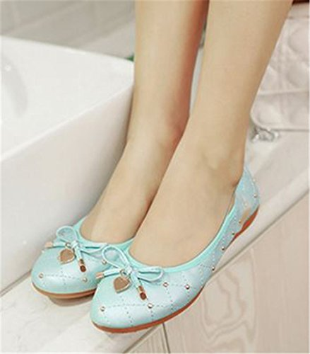 Soft Bow Flats Womens Cloudless Slip Foldable on Flats Pointed Toe Blue Ballet qEq0wYR