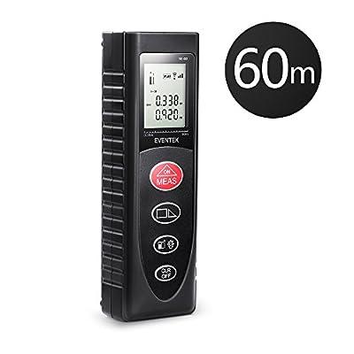 Eventek Laser Measure, 60m 197ft Portable Handle Laser Measure Tool Range Finder with Backlight Digital Laser Distance Meter for Volume/Area/Pythagorean
