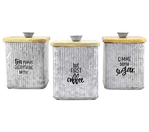 AuldHome Farmhouse Galvanized Canisters (Set of 3); Storage Containers for Coffee, Tea and Sugar in Galvanized Iron and Wood Design (Containers Tea Coffee And)