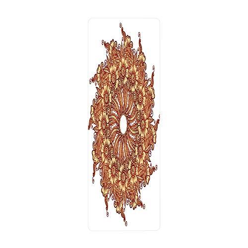 iPrint Yoga Towel, 100% Microfiber Yoga Mat Towel,Henna,Eastern Civilization Inspired Floral Tattoo Design Mehndi Motif Illustration Decorative,Mustard Dark Orange,for Hot Yoga, Pilates and Fitness by iPrint