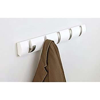 Umbra Flip(R) 5 Hook Wall Mount Rack/Rail, White