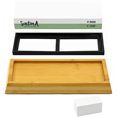 Premium Whetstone Knife Sharpener - 3000/8000 Grit Two Sided Wet Sharpening Stone - Bamboo Base & Flattening Stone by Sentima (Image #3)