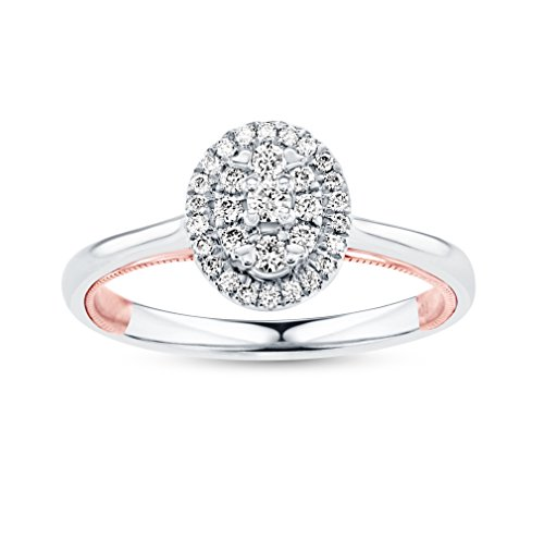 Life More Dazzling 10K White Gold Oval Diamond Ring Rose Gold Milgrain Heart (1/4CTW, I2 Clarity) ()
