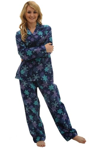 Del Rossa Womens Flannel Pajama Set, Long Cotton Pjs, Medium Floating Flakes (A0509T06MD)