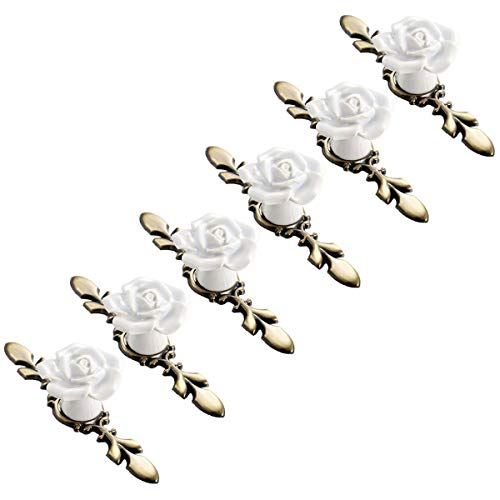 SCTD Rose Ceramic Cabinet Knobs with Bronze Backplate, Vintage Kitchen Flower Drawer Pull Handles for Dresser Cupboard Waredobe with 3 Size Screws, 6 Pack (White New) (Drawer Pulls Flower)