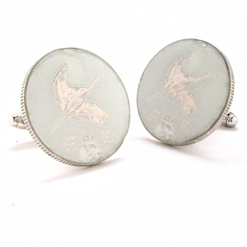 Korea Cufflinks Cuff Links Coins Flag Vintage Style Asia South Crane Seoul