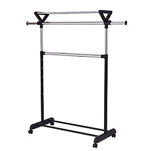COLIBROX--2 Rod Garment Rack Adjustable Clothes Hanger Rolling Closet w/ Top Shelf Chrome. clothes rack walmart. heavy duty garment rack. clothing rack target. best clothes rack amazon.