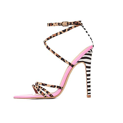 Summer High Sandals Women Cross-Tied Heels Ladies Ankle Strap Lace Up Party High Shoes Mixed Colors Back Strap Thin Heels Leopard& Zebra Prints Style, Euro Size 39