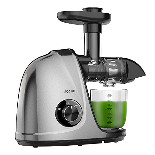 Juicer Machines, Jocuu Slow Masticating Cold Press Juicer Extractor with 2-Speed Settings, Reverse Function, Quiet Motor, for Fruits Vegtables and Wheatgrass, with Brush & Recipes, Easy to Clean