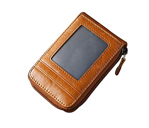 RFID Blocking Credit Card Holders Case Organizer Genuine Leather Zip Around Security ID Window Wallets ()