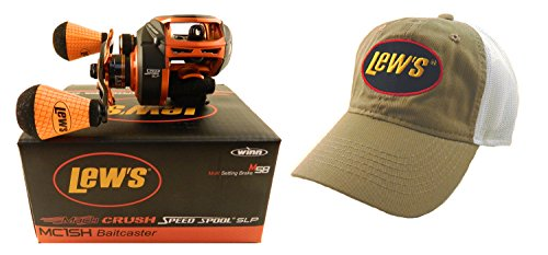 Lew's Mach Crush Speed Spool MC1SH 7.5:1 Right Hand Baitcasting Reel with Hat For Sale