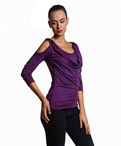 Couleurs Manches Longues Style S Acvip Col Nu shirt Epaule Taille 6 Blouse Violet Veste Rond T Mode Sexy xl Femme wTZqZYSX