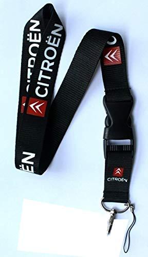 Tgh LanCTRN Lanyard Llavero Negro Sport con Logo Citroen