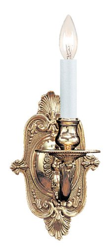 1 Light Candle Wall Sconce - Traditional 1 Light Candle Wall Sconce Finish: Polished Brass