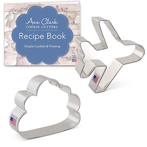 Ann Clark Cookie Cutters 2-Piece Air Travel and Flying Cookie Cutter Set with Recipe Booklet, Airplane and Cloud