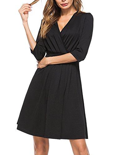 3/4 sleeve black dress v neck - 8